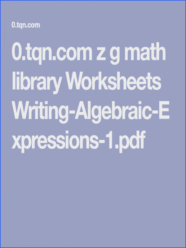 0 tqn z g math library Worksheets Writing Algebraic Expressions 1