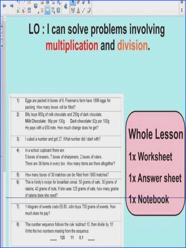 1 Whole Lesson Multiplication and Division word problems based on SATS questions KS2