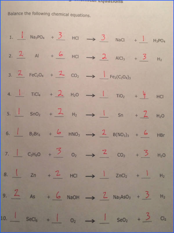 We looked at last night s homework on balancing chemical equations Here are the Side 1 Answers