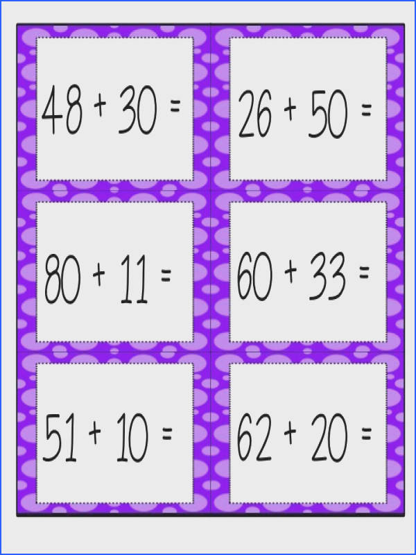 Center and worksheets for introducing two digit addition