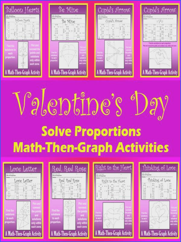 Valentine s Day 8 Math Then Graph Activities Solve Proportions