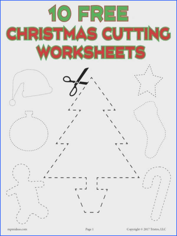 10 FREE Printable Christmas Shapes Cutting Worksheets and Scissor Skills Worksheets Practice cutting and fine
