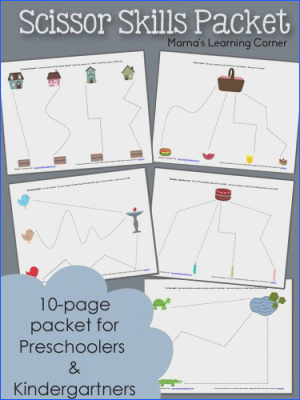 Download a free printable 10 page Scissor Skills Worksheet Packet for your Preschooler