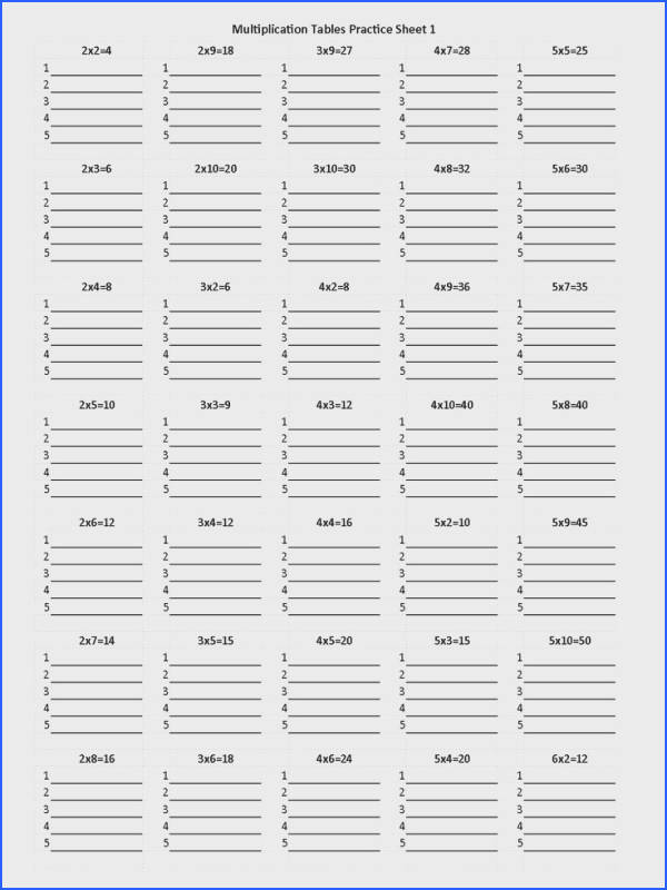 Multiplication Tables Worksheet 1