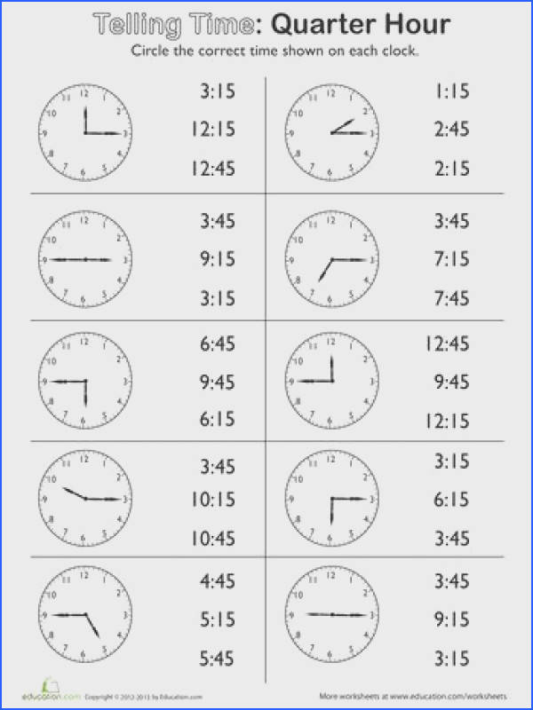 Second Grade Time Worksheets Telling Time on the Quarter Hour Match It
