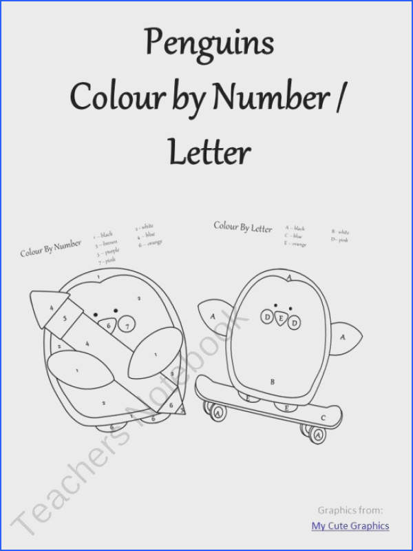 Penguin Colour By Number Letter product from A Moment In Our