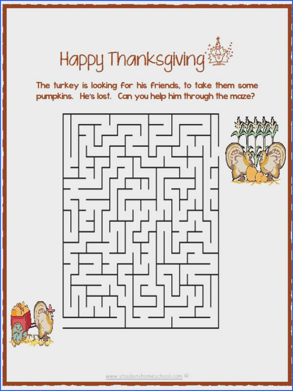 free printable thanksgiving maze