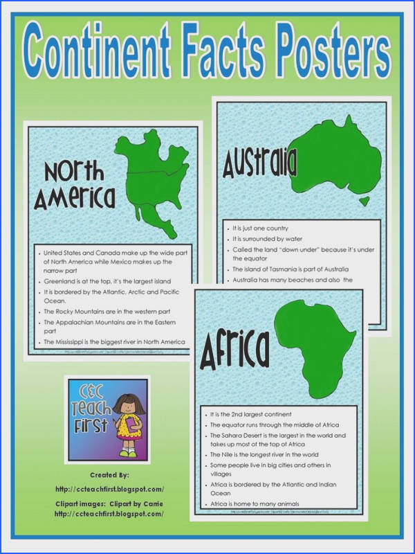Posters powerpoints and SONGS about the 7 continents and oceans
