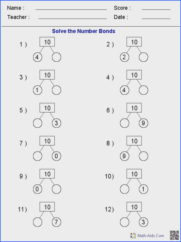 Number Bonds Worksheets Great for teachers using Singapore Math Really helps students understand number