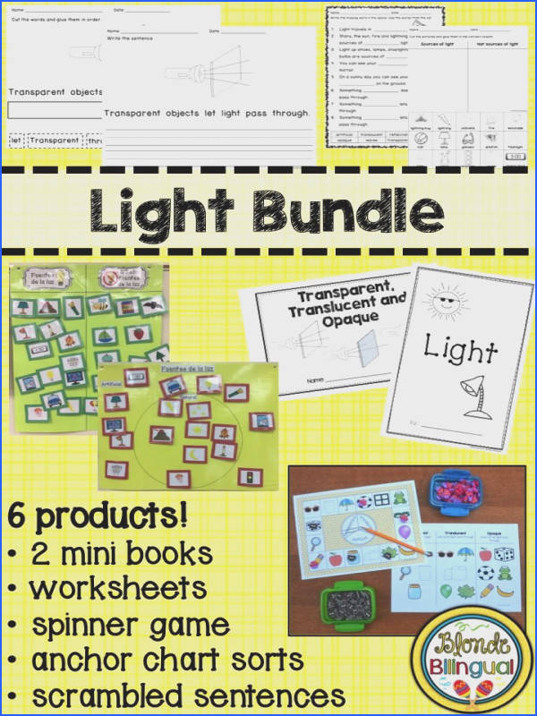 Have fun while teaching the science of light waves to your first graders This set