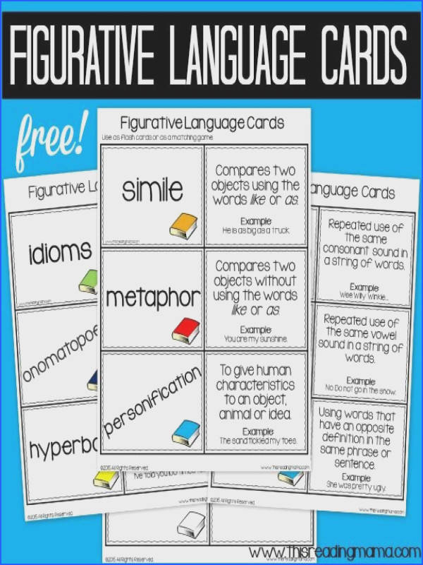Figurative Language Cards and Scavenger Hunt FREE This Reading Mama