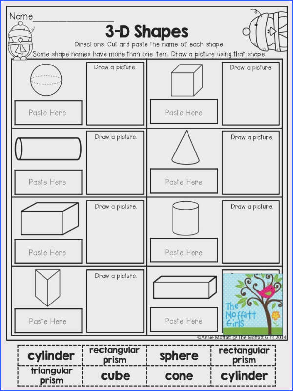 3 D Shapes Cut and paste the name of each shape TONS of