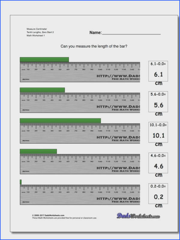 Measure Centimeter Tenth Lengths Zero Start 2 Metric Measurement Worksheet Measure Centimeter Tenth Lengths