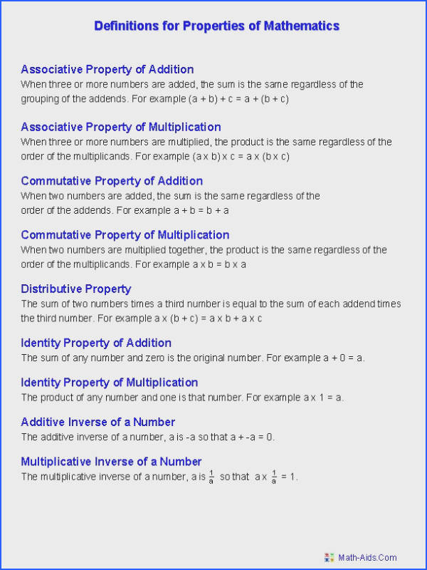 Properties worksheets properties of mathematics worksheets Math Aids