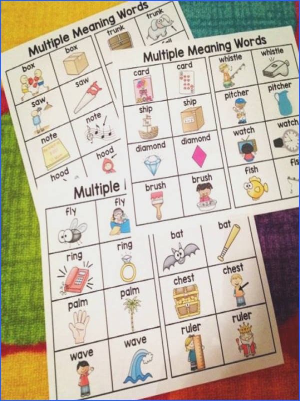 Multiple meaning words charts that are a great reference for multiple meaning words activities