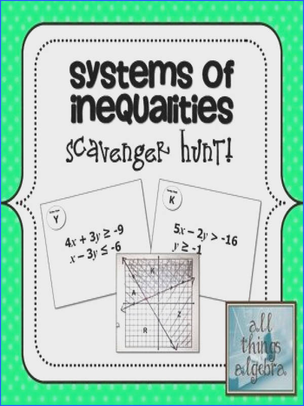 Systems of Inequalities Scavenger Hunt Activity
