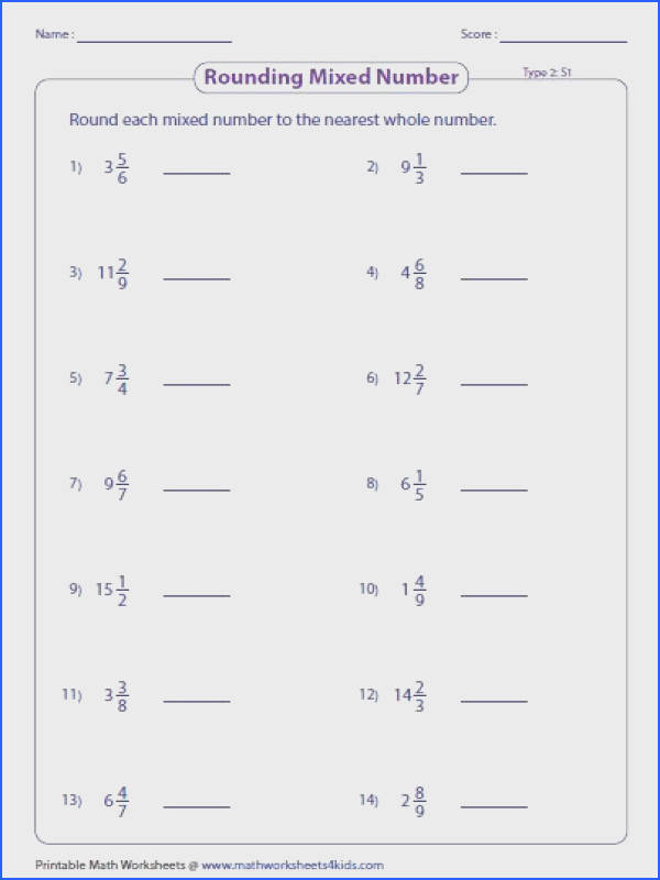 The worksheets are based on rounding fractions to the nearest whole number or nearest half Proper fraction improper fraction and mixed numbers are