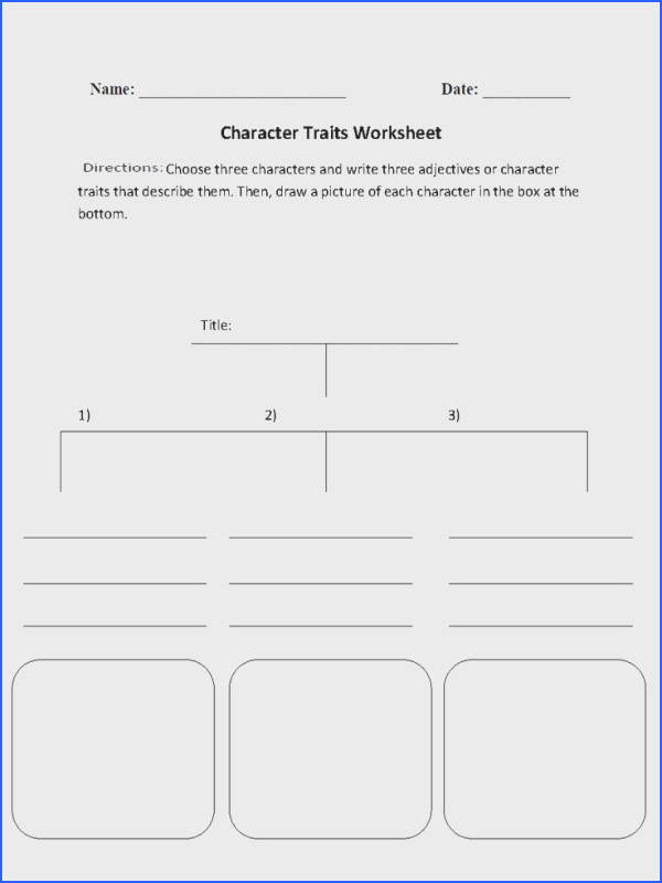 Character Traits Character Analysis Worksheet