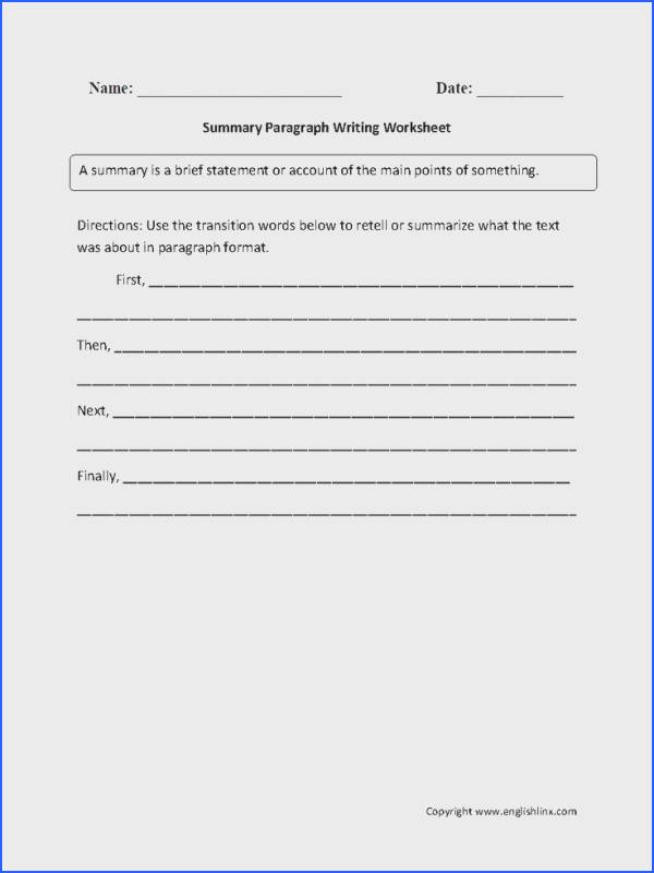 Summary Paragraph Writing Worksheets