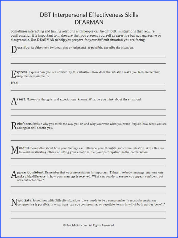 DBT Interpersonal Effectiveness Skills DEARMAN Worksheet