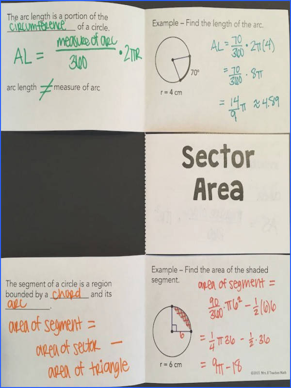 Arc Length and Sector Area Foldable