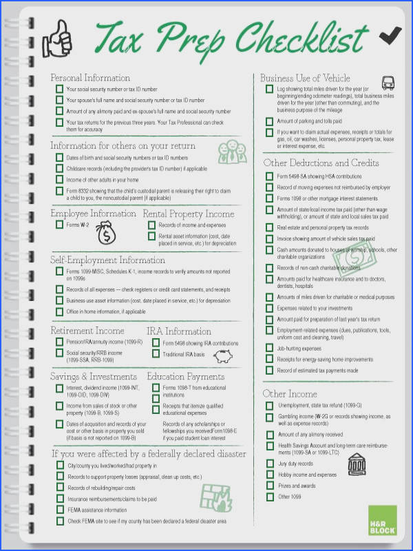 Handy Printable Tax Prep Checklist from HRBlock