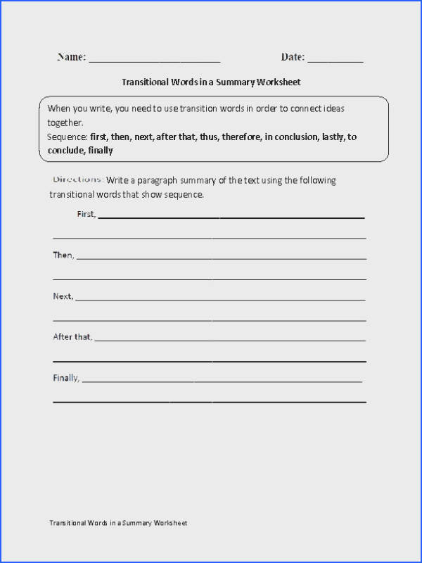 This transitional words worksheet directs the student to write a paragraph summary of the text using the transitional words given