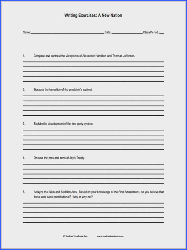 A New Nation Essay Questions Worksheet is free to print PDF file