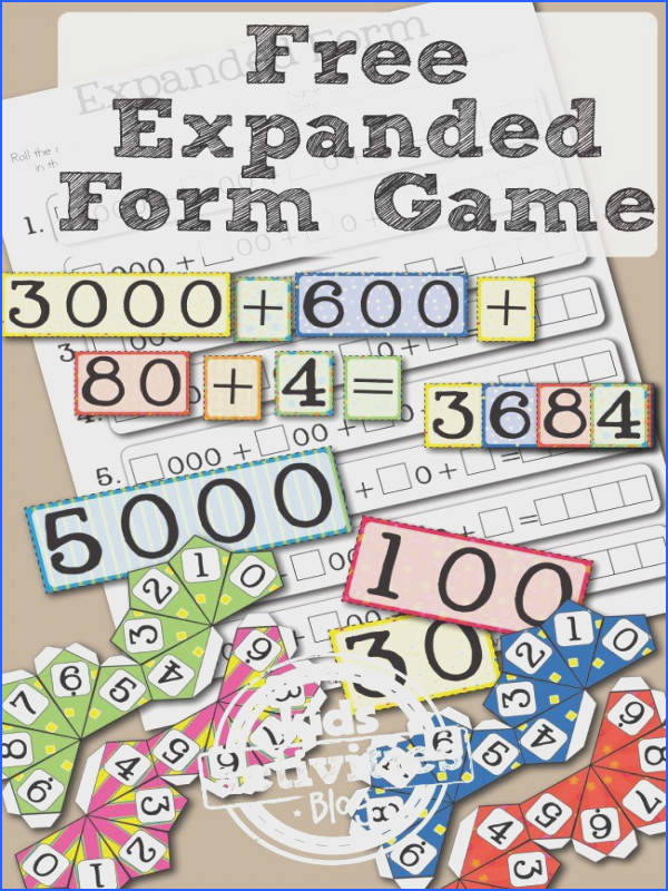FREE PRINTABLE PLACE VALUE GAME LEARNING EXPANDED FORM