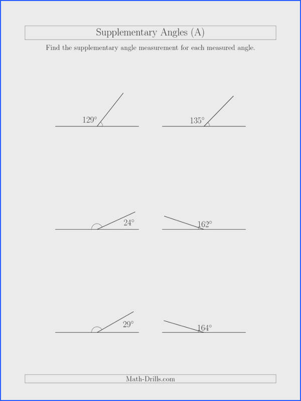 The Supplementary Angle Relationships A math worksheet from the Geometry Worksheets page at Math