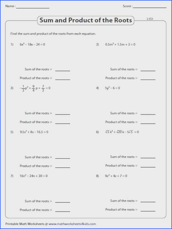 These worksheets provide ample practice on sum and product of the roots missing root forming quadratic equation from the roots and more
