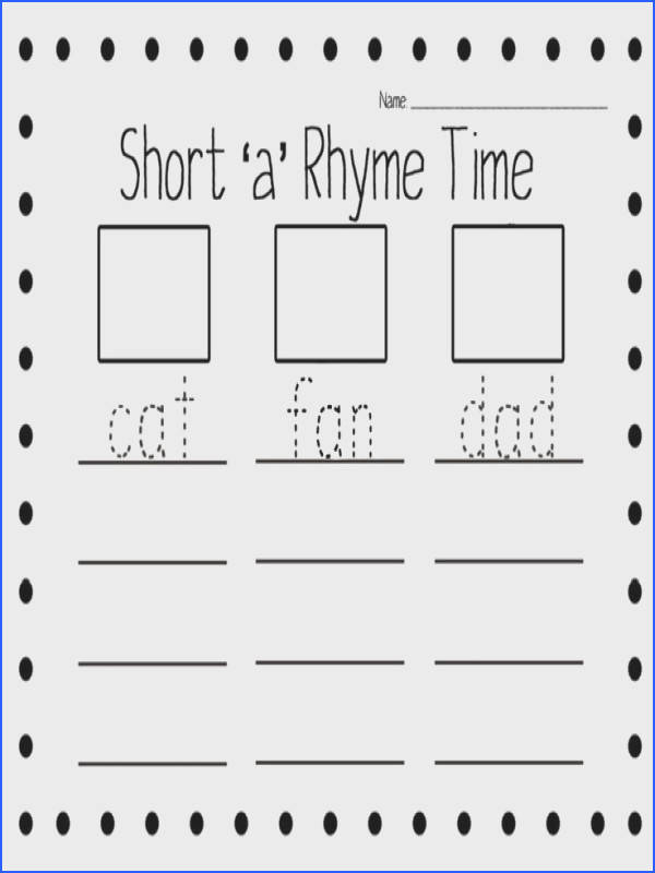 Short Vowel Rhyme Worksheets