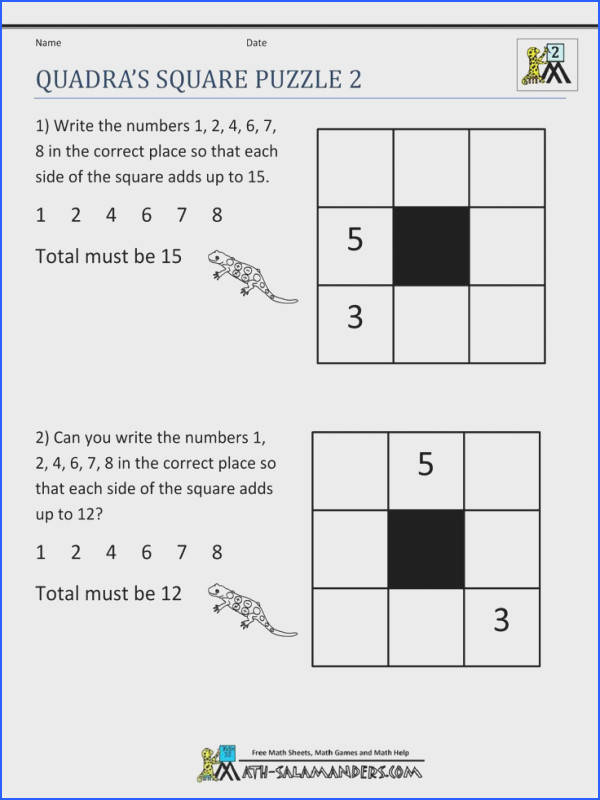Here you will find our Math Puzzle Worksheets page for Grade which will help your child to develop their thinking and reasoning skills