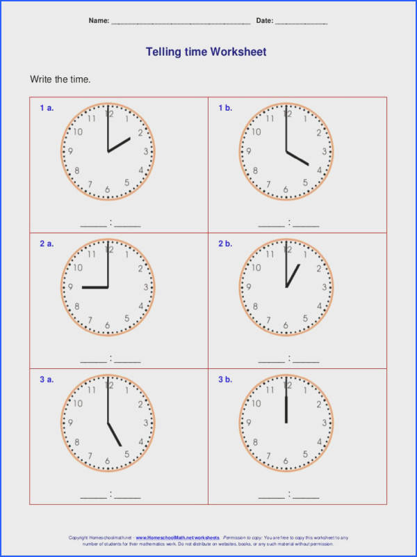 Telling time worksheets for 1st grade