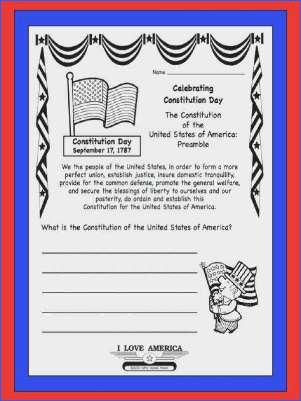 U S Constitution Day Sept 17 FREE writing & coloring worksheet