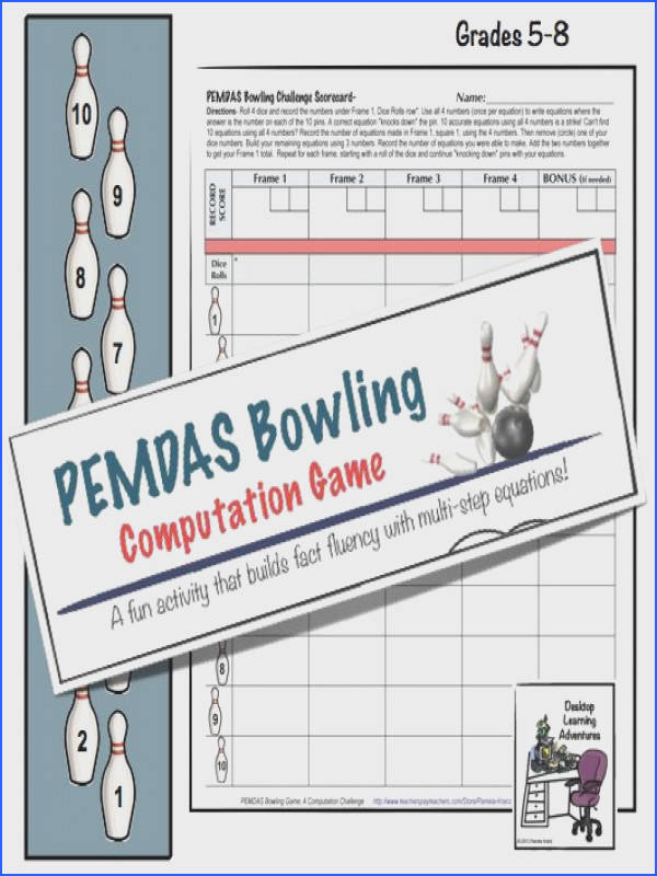 PEMDAS Order of Operations Bowling putation Game