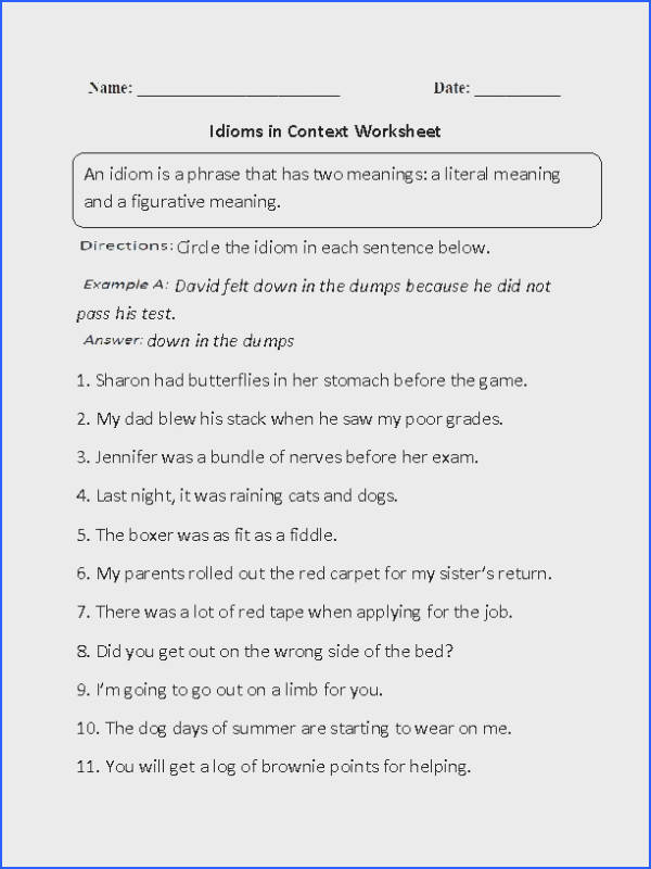 These Idioms Worksheets are great for working with Idioms Use these idioms worksheets for the beginner and intermediate levels