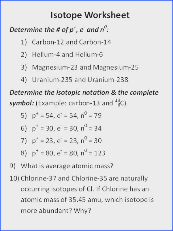 Most mon isotope Worksheet 1 Best C P Chem 2017 2018 Mr Coe S Science Class