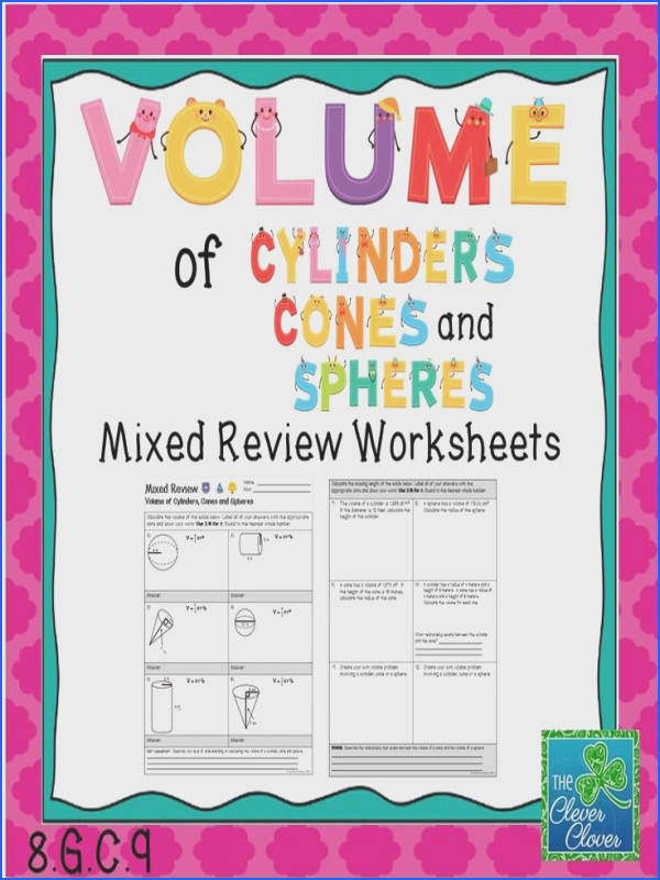 Volume of Cylinders Cones and Spheres Mixed Review Worksheet