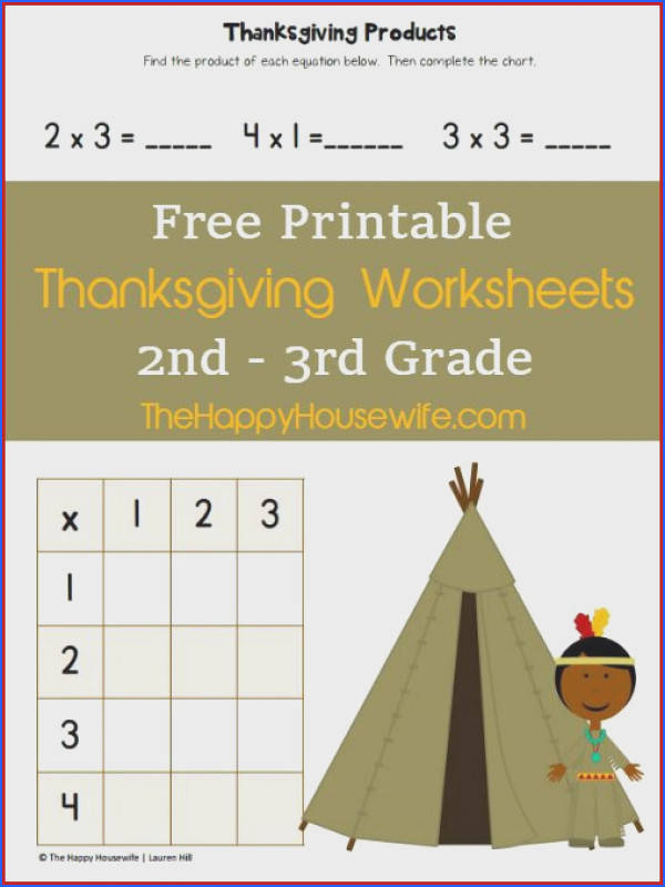 Free Printable Thanksgiving Worksheets for 2nd 3rd Grade