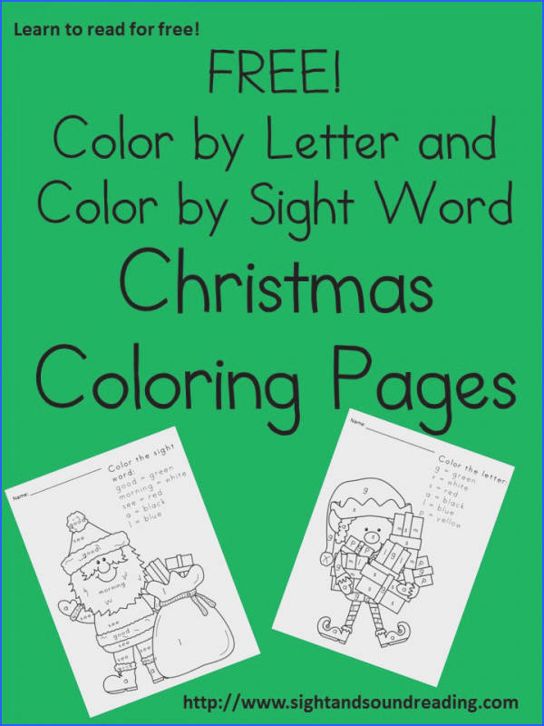 Free Christmas worksheets for children These are cute color by letter and color by sight