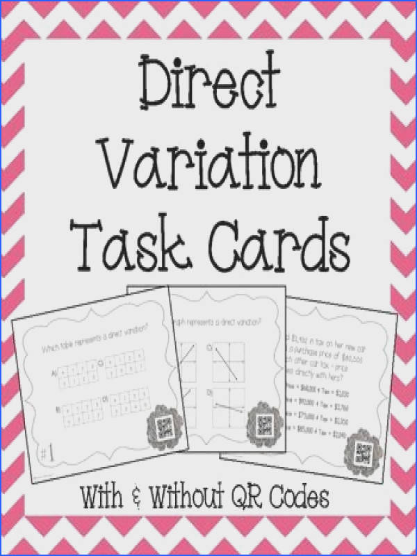 This is a set of 18 Task Cards with & without QR Codes to help strengthen students skills in working with Direct Variation problems