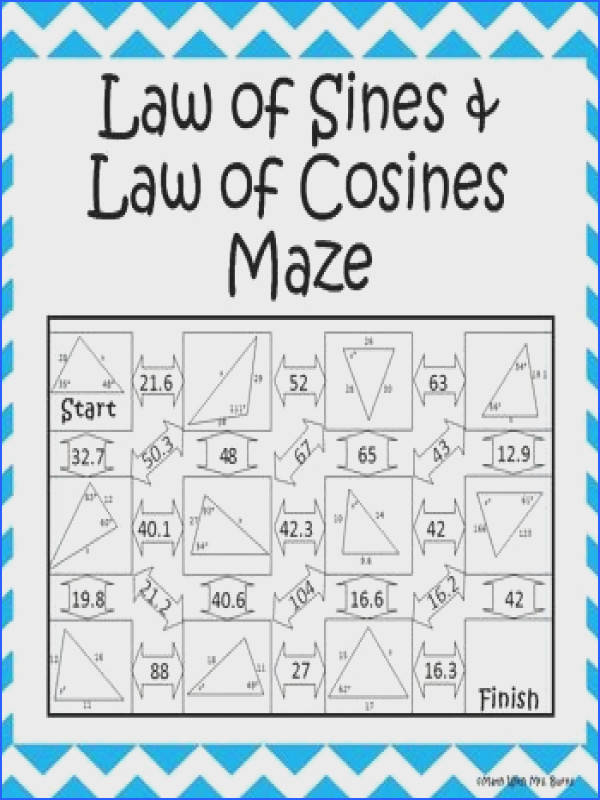 Student have to figure out whether to use the Law of Sines or the Law of Cosines I like that this maze doesn t tell them which one to use