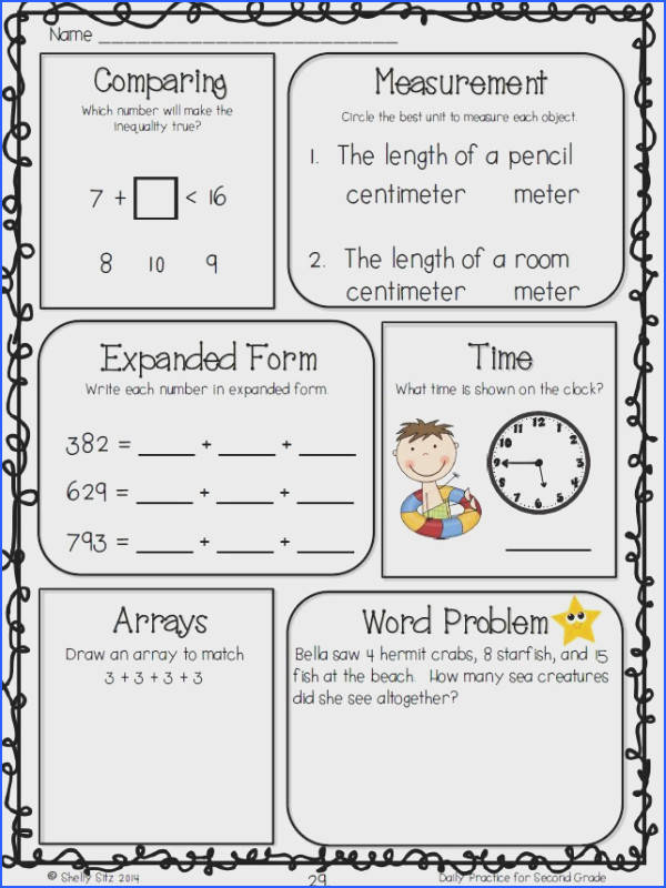 Morning work for 2nd grade FREE measurement word problems telling time