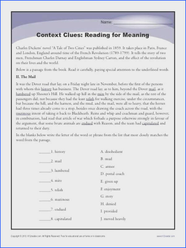 Context Clues Reading for Meaning