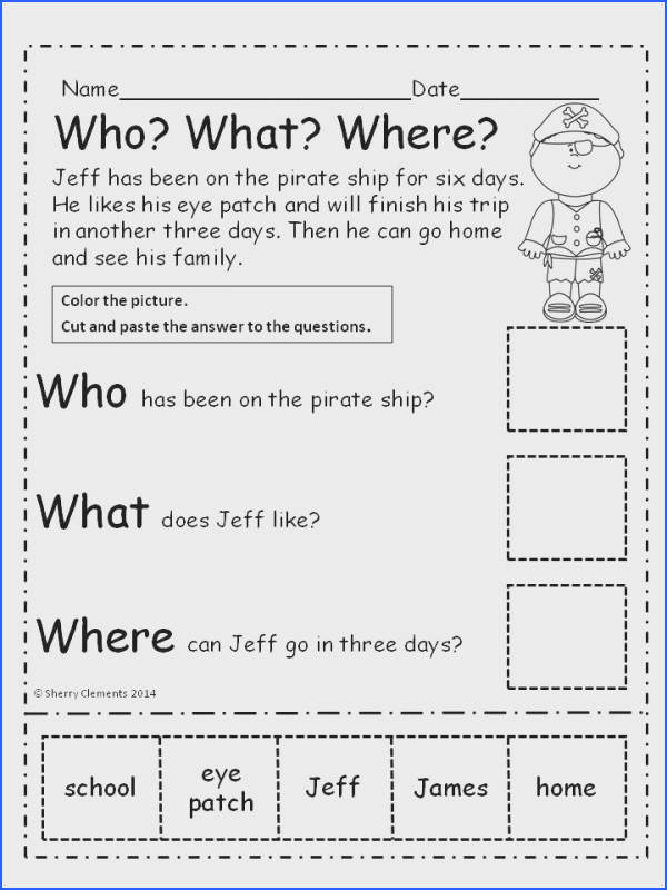 First Grade Fast Finishers See More Pirates Who What Where Reading prehension Cut and Paste