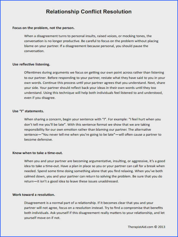 Skills worksheet for couples on basic munication and conflict resolution skills