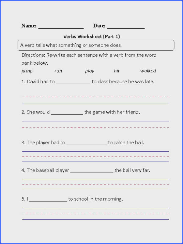 Re writing Action Verbs Worksheet Part 1 Beginner