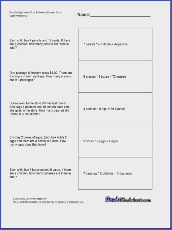 Extra Facts Multiplication Word Problems Printable Maths WorksheetsSubtraction