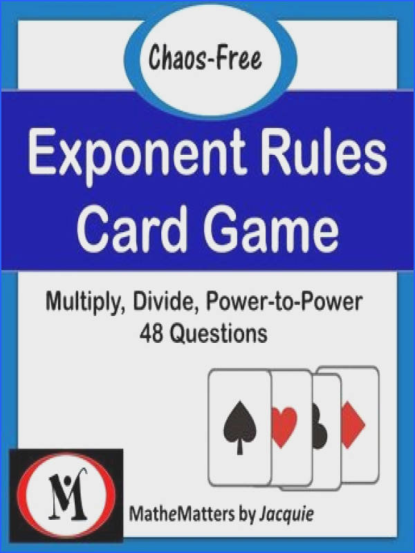 Exponent Rules Activity 48 Questions EDITABLE 8 EE A 1